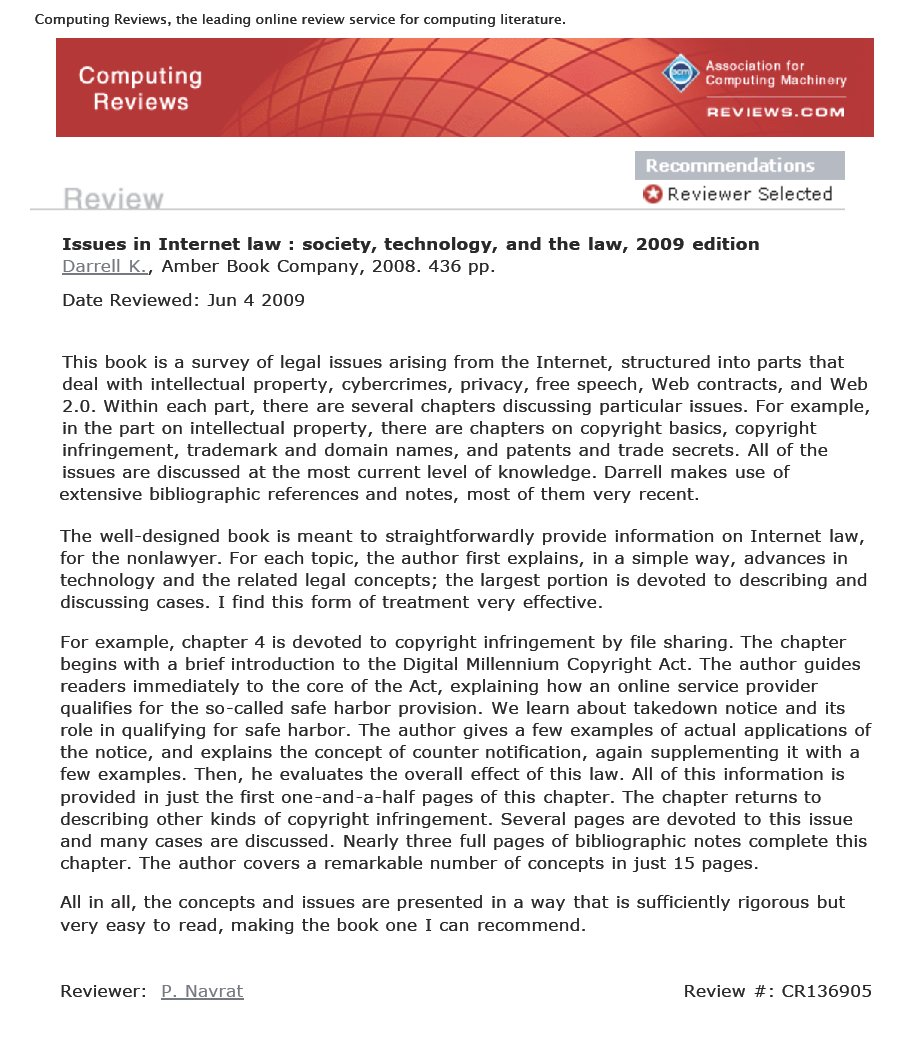 Law Library Journal Review of Issues in Internet Law